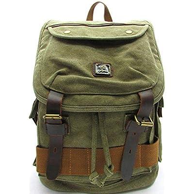 f1fb219aabd3 best BEST Military Green Canvas Backpack Vintage Large School Bag Quality  Backpacks