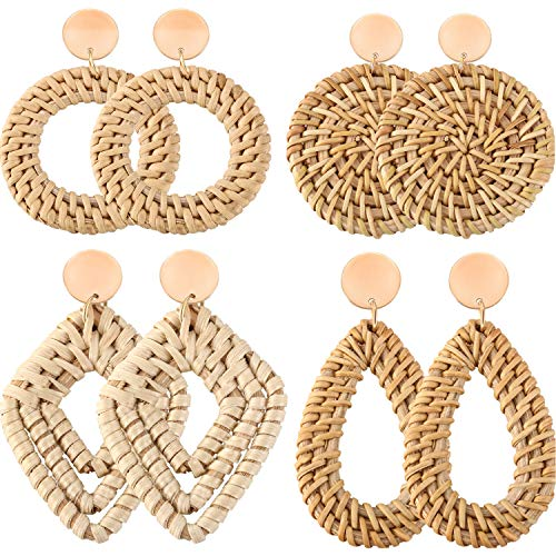 Yaomiao 4 Pairs Rattan Earrings Boho Straw Woven Earrings Handmade Wicker Drop Earrings Dangle Geometric Statement Earrings for Women Girls (Style A)