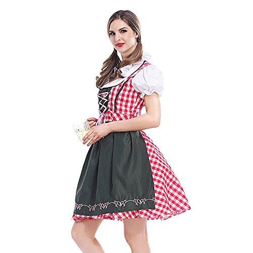 Abito Costume Cosplay Perfectii Oktoberfest Di Halloween Tradizionale Cameriera Abito Costume Costumi Donna Dirndl Dirndl Rosso Dress Costume Carnevale z7xq7R1Ew