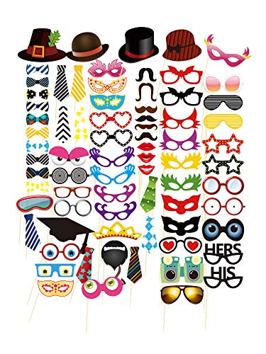 Ohlily Photo Booth Props 75 PCS DIY Kit for Wedding Birthday Reunions Parties Decorations