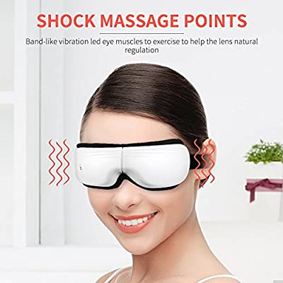BROMOSE Eye Massager USB Electric Music Therapy Stress Relief Foldable for Eye Care Air Pressure Heat Compression Vibration Temple Massage Headache Relief Foldable Machine for Eye Dark Circle