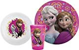 Zak Designs FZNA-0391 Zak! Designs Mealtime Set with Plate, Bowl and Tumbler featuring Elsa, Anna & Olaf from Frozen, Break-resistant and BPA-free plastic, 3 Piece Set