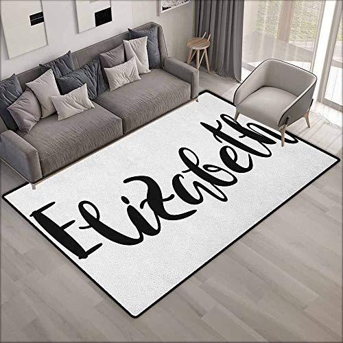 Outdoor Patio Rug,Elizabeth Monochrome Inscription Style Modern Calligraphy Design Popular Girl Name,Anti-Slip Doormat Footpad Machine Washable,6'6