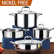 HOMI CHEF Mirror Polished NICKEL FREE 7-Piece Cookware Set Stainless Steel (Stock Pot + Sauce Pan + Saute Pan + Steamer Insert, No Toxic Non Stick Coating - Homemade Cookware)
