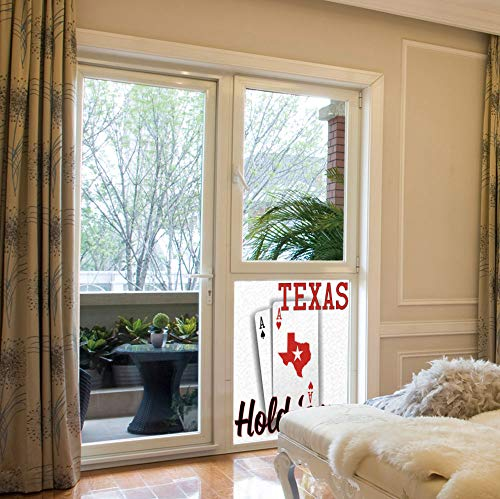 YOLIYANA The Visual Effect of Textured Glass and Stained Glass,Poker Tournament Decorations,is Good for Long Year Under The Sunshine,Texas Holdem Theme Pair of Aces with Map,17''x24'' ()