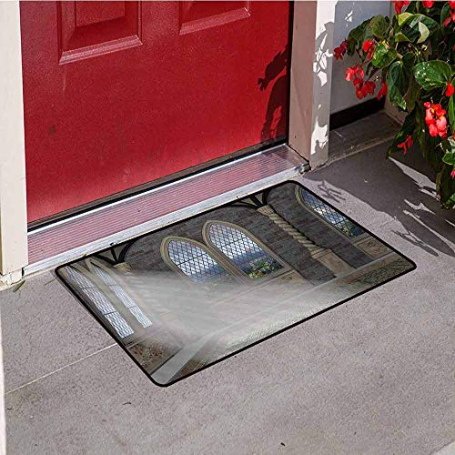 - Jinguizi Fantasy Front Door mat Carpet Crepuscular Rays Streaming Through Stained Glass Window Ancient Palace Castle Machine Washable Door mat W15.7 x L23.6 Inch Grey Cream White