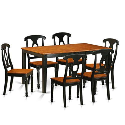 East West Furniture NIKE7-BCH-W 7 Piece Kitchen Dinette Table and 6 Chairs Set