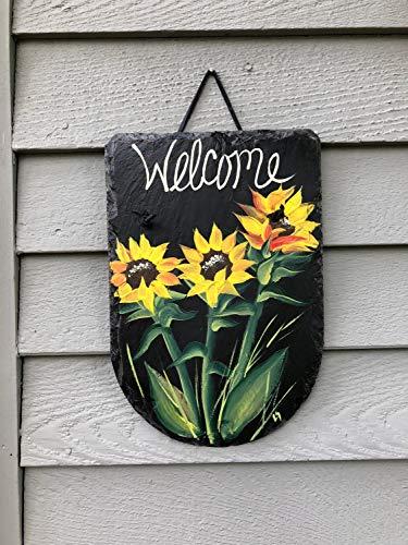 MarthaFox Welcome Sign Painted Wood Front Door Decor Wood Door Hanger Spring Door Hanger Front Door Decor Garden Decor mom Gift Porch Decor Wood Sign -
