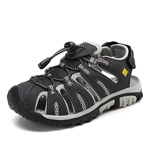 Dream Pairs 160912 K New Boys   Girls Adventurous Design Light Weight Adjustable Straps Outdoor Summer Kids Sandals Dk Grey Grey Yellow Size 5