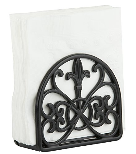 Wrought Iron Napkin Holder - Home Basics Cast Iron Fleur De Lis Napkin Holder, Black