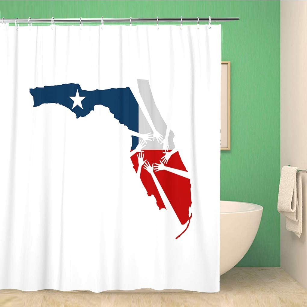 Awowee Bathroom Shower Curtain Hurricane Hands Helping Florida Relief Irma Help Support Recovery Polyester Fabric 60x72 inches Waterproof Bath Curtain Set with Hooks