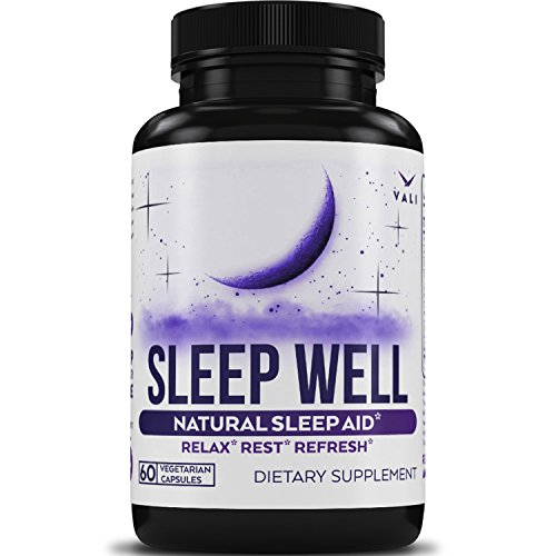 Sleep Well Natural Sleep Aid Supplement - Vegan Non Habit Forming Herbal Sleeping Pills to Calm, Relax Fast, Support Rest & Wake Refreshed. Melatonin, Valerian, Chamomile & More - 60 Veggie Capsules