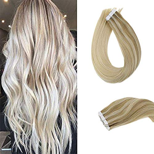 18quot Remy Hair Extensions Glue in Hair #18 Ombre to #24 Highlighted with #60 Platinum Blonde Tape in Seamless Hair Extensions 50g 20 Pieces