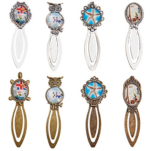 (SUNNYCLUE 16PCS 8 Styles Mixed Color Bookmark Pendant Tray Kit Assorted Oval Round Bookmark Cabochon Setting with Clear Domed Glass Cabochon for DIY Alloy Portrait Helm Bookmark Making )