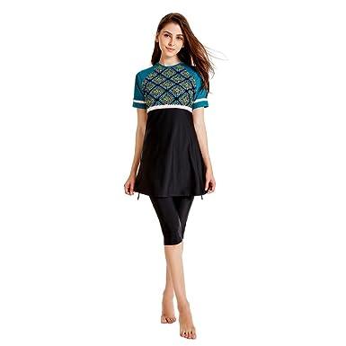 243151c9b32 Muslim Women Modest Swimwear Islamic Short Sleeve Top+Pants Swimwear  Swimsuit at Amazon Women s Clothing store