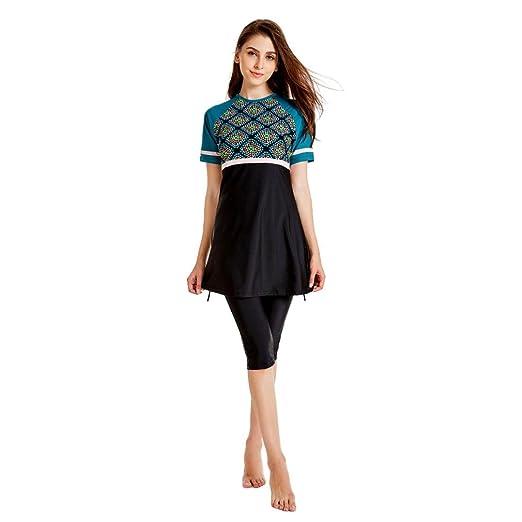 9c88b8b026 Muslim Women Modest Swimwear Islamic Short Sleeve Top+Pants Swimwear  Swimsuit at Amazon Women s Clothing store