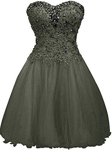 Tüll Linie Damen Ballkleider JAEDEN Grau Festkleid Kurz Cocktailkleid Abendkleider Partykleid A qznPx8g