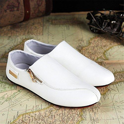 Een Andere Zomer Heren Rits Casual Lichtgewicht Comfortabele Loafers Wit