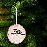 kacowpper Furniture Stickers,20 Pieces 6-7cm Unfinished Predrilled Wood Slices Round Log Discs 33 Feet Arts & Crafts, Home Hanging Decorations, Event Ornaments,Christmas