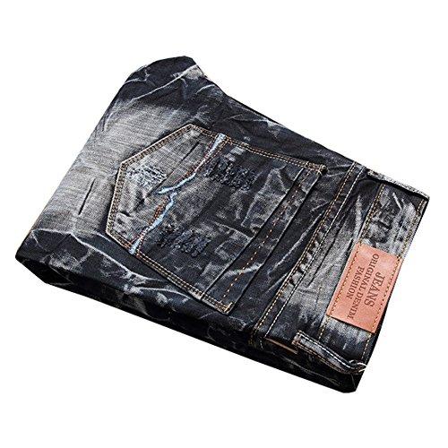Destruido Mezclilla Pantalón Pantalones Slim Jeans Fit 9890 Vaqueros Hombre Rectos Vaqueros Para Negro Rasgado nwIqtSx10