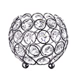 Feyarl Handcraft Crystal Candle Holder with 4 Layers Crystal Beads Candle Lantern Makeup Brush Holder (silver)