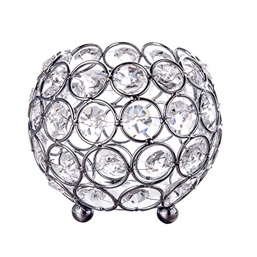 Feyarl Handcraft Crystal Candle Holder Sparkly Beads Candle Lantern Makeup Brush Holder 4 Inch -
