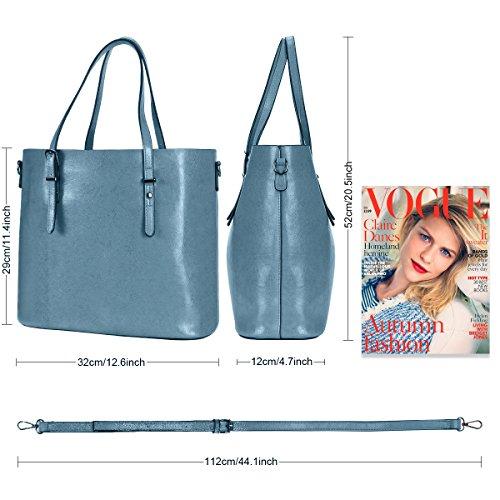 Women Top Handle Satchel Handbags Shoulder Bag Messenger Tote Bag Purse IUKIO (Light Blue) by IUKIO (Image #4)