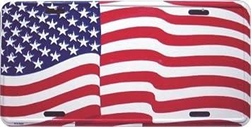 HangTime American Flag Patriotic Metal License Plate 6 x 12