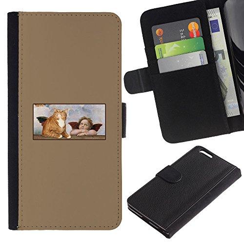 Billetera de Cuero Caso Titular de la tarjeta Carcasa Funda para Apple Iphone 6 PLUS 5.5 / Cat Angel Wings Art Ginger Yellow Garfield / STRONG