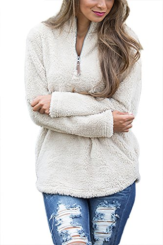 Minipeach Women's Long Sleeve 1/4 Zip Pullover Jacket Outwear Sweatshirt Winter Coat,Medium,Beige