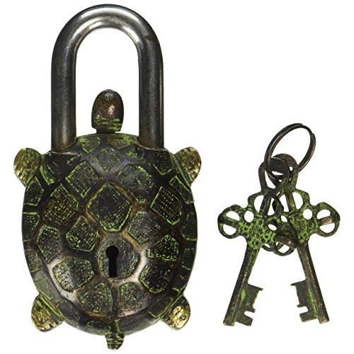 Brass Padlock - Lock with Keys - Working Functional - Brass Made - Type : (Tortoise - Vintage Finish)