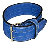 Ader Leather Power Weight Lifting Belt- 4″ Blue (Large)