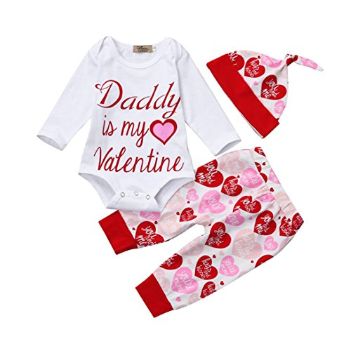 Muxika Newborn Infant Baby Girl 3Pcs Valentine's Day Outfits Set Letter Romper +Pants+Hat (0~3 Month, Red)