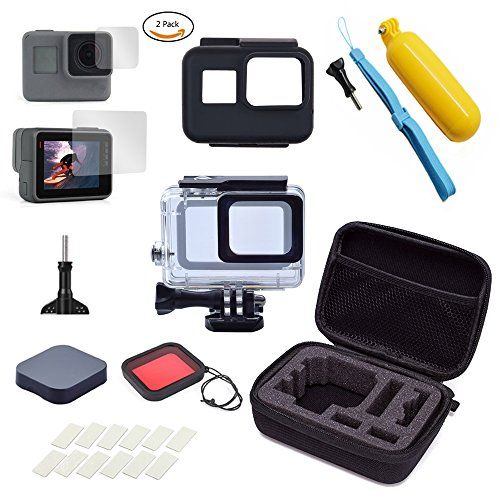 Fcheki Camera Accessories Kit for GoPro Hero 6/Hero 5 (Carrying Case/Housing Case/Screen Protector/Lens Cover/Silicone Protective Case/Anti-fog Insert/Red Filter/Floating Hand Grip) by Fcheki