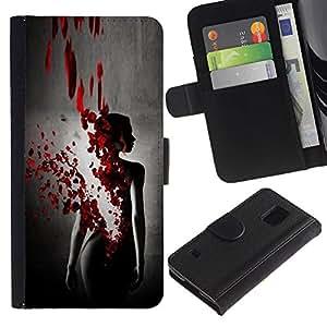 For Samsung Galaxy S5 V SM-G900 Case , Blood Rose Petal Dress Black Woman - la tarjeta de Crédito Slots PU Funda de cuero Monedero caso cubierta de piel