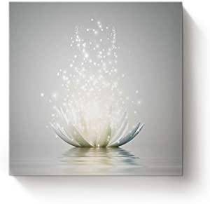 EZON-CH Square Canvas Wall Art Oil Painting Christmas Office Home Decor,Art Lotus Flower Pattern White Artworks,Stretched by Wooden Frame,Ready to Hang,12 x 12 Inch