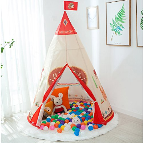 Teepee Tents for Kids, Anyshock Kids Indian Tipi Tent Play House Castle Baby Toys as a Best Gift for 1-8 Years Old Children Boy Girls Toddler Infant Outdoor Indoor Use (Teepee,Ball NOT INCLUDE) (Gifts 1)