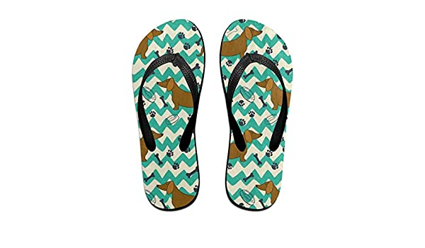 d2e54cfbec43 Amazon.com  Flip Flops Cartoon Dachshund Dog Paw Print Bone Women s Summer  Slippers Brazil Sandals For Senior  Clothing