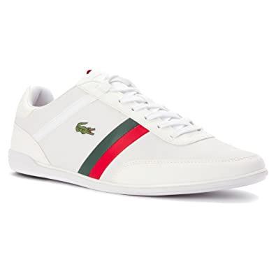 8ce189e8874bb Lacoste Mens Giron Pri Sneakers in White Red 9.5 (Adult)  Amazon.co ...