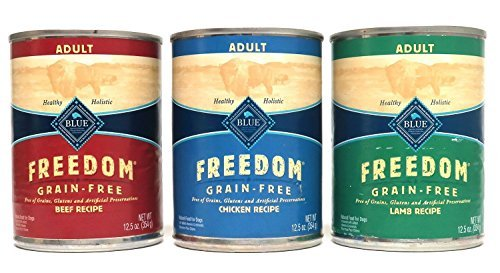 Blue Buffalo Freedom Grain Free Wet Adult Dog Food Variety Pack, 3 Flavors (Lamb, Chicken, & Beef), 12.5-Ounces Each by Blue Buffalo