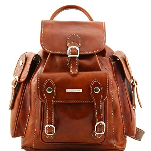 Tuscany Leather Pechino Leather Backpack Honey by Tuscany Leather