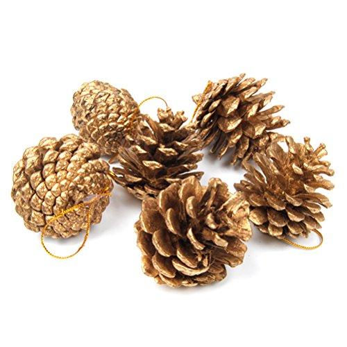 ROSENICE Christmas Pine Cones String Pinecone Pendant Xmas Tree Decoration 6pcs 5cm Gold