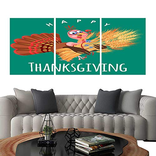 3 Piece Wall Art Painting Cartoon thanksgiving turkey character in hat autumn holiday bird vector illustration happy greeting text on flyer or card on white background5. living room kitchen -
