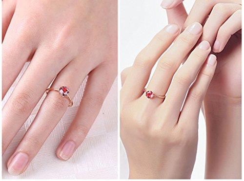 dccf1b8b89d1 AnaZoz (Tamaño Personalizado) 18K Oro Joyas Anillo Diamante Anillo Mujer  Anillo Redondo Anillo de Diamantes Rubí Piedras Preciosas Anillo Oro Rosa  Tamaño ...