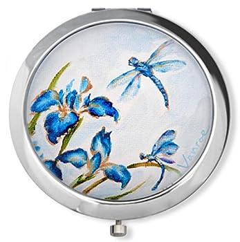 Vanroe 'Blue Iris & Dragonfly' Designer Compact Mirror in Gift Box - Magnified, Engravable, Art Nouveau, Bridesmaid