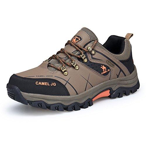 GOMNEAR Trekking und Wanderschuhe Herren Wasserdichtes Leder Walking Outdoor Low Rise Schuhe (EUR42=UK7.5, Khaki)
