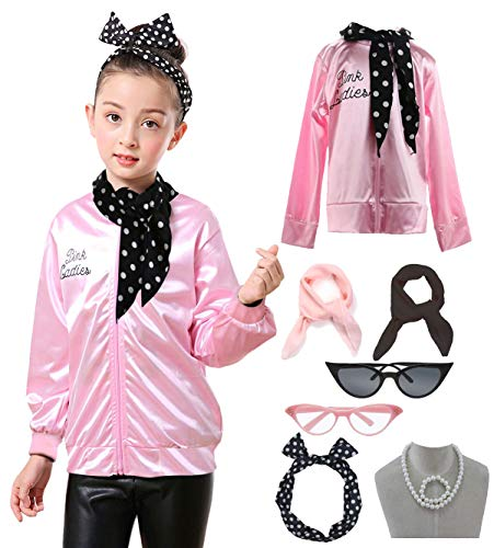 Child 1950s 50's Pink Ladies Jacket Outifit Accessories Set]()
