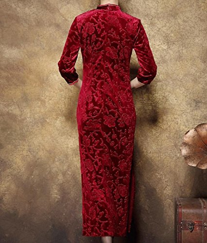 Gold Pattern2 Banquet Out Cut Dress Women's Comfy Embroidery Qipao Chinese Velvet SqHBwUvw5n