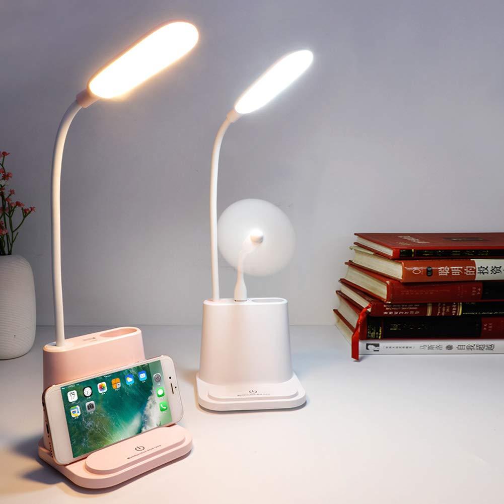 JIMITO Augenschutz LED Schreibtischlampe Touch Control Tischlampe Dimmbares weiches Licht USB Rechargeble Kann als Stifthalter und Handyhalter verwendet werden