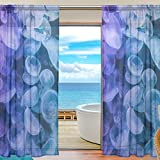 ALAZA Glowing Jellyfish Sheer Window Curtain Panel Drape 55×84 Inch for Living Room Bedroom Kids Room 2 Piece For Sale